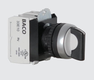 Baco Short Lever Maintained 3 Position Selector Switch with 2 Normally Open Contact Blocks    p/n# L21MA03-3E20